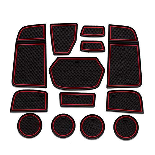 Wcnsxs Accesorios para el Interior del Coche, Almohadilla de Goma con Ranura para Puerta Luminosa, Antideslizante, antisuciedad, Soporte para Taza, cojín, para Ford Escort