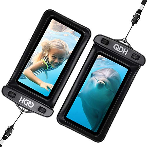 "QDH Waterproof Phone Case IPX8 Underwater Bag Phone Pouch Cellphone Dry Bag with Lanyard for iPhone 12 Pro Max 11 Pro Max XR X 8 7 6 Plus Galaxy Note 10+ Pixel up to 6.8"" Shower Phone Holder 2 Pack"