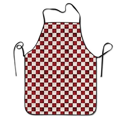 Balance-Life Vestito da Grembiule con Bretelle per Barbecue da Cuoco Professionale Cuoco a Quadretti Rosso ized per Cucina per Donna Wife Ladies da Donna