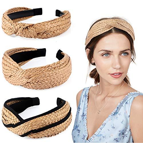 Tacobear 3 Stück Stirnband Damen Elastisch Gekreuztes Haarband Kopfband Stroh Verdrehte Geknotetes Knoten Haarreif Haarband für Damen Mädchen (A)