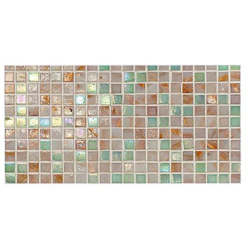 banjado Glas Nischenrückwand für Küche 110cm x 55cm | Küchenrückwand mit Motiv Grüne Fliesen | Spritzschutz selbstklebend ohne Bohren | Fliesenspiegel magnetisch und beschreibbar