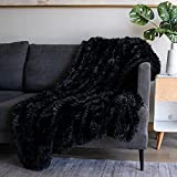 Soft Fuzzy Faux Fur Throw Blanket ,50'x60',Reversible Lightweight Fluffy Cozy Plush Fleece Comfy Furry Microfiber Decorative Shaggy Blanket for Couch Sofa Bed,Black