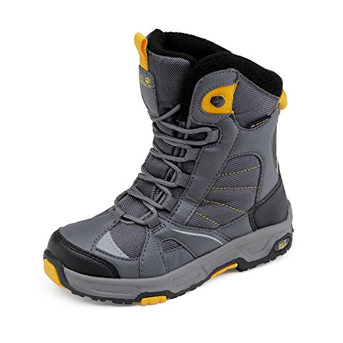 Jack Wolfskin Jungen Boys Snow Ride Texapore Trekking-& Wanderstiefel, Grau (Burly Yellow Xt), 34 EU