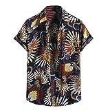 YSYOkow Camisas hawaianas florales de manga corta con botones para hombre