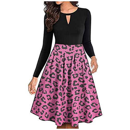 Women Long Sleeve Midi A Line Dress Print Keyhole Pleated Knee Lenght Dresses Swing Cocktail Party Dress Pink