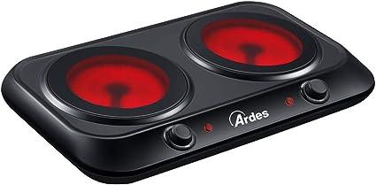 Ardes AR1F402 CERAMICO DUO Cocina eléctrica de cerámica de vidrio, 2 placas de 19 cm de diámetro con lámpara de advertencia, 5 niveles de potencia, se ...
