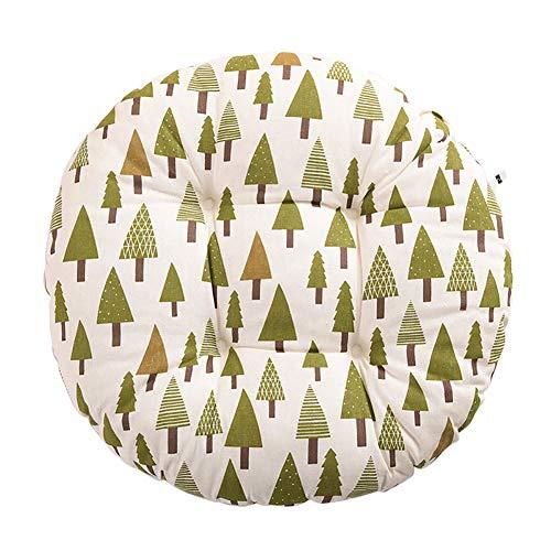 Cosanter Coussin Rond Motif Arbre de Noël Vert Coussin de Chaise Décoration de Meubles de Jardin pour chaises de Cuisine Jardin Salle à Manger Galette de Chaise