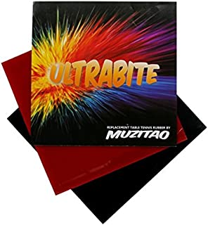 Muzitao UltraBite Table Tennis Rubber (2 Pack, 1 x Red + 1 x Black) Table Tennis Bat Replacement Rubbers