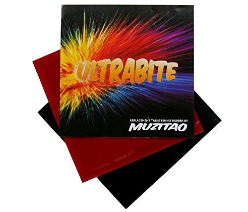 Ultrabite Tischtennis Gummi von muzitao (2 Stück, 1 x rot + 1 x Schwarz) Tischtennisschläger Ersatz-radierern (mit Schwamm)