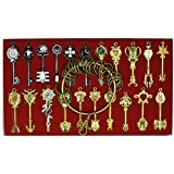Lucy Cosplay Key Set of 25 Golden Zodiac Keys Anime Set and Keyring +Collection Copper Circle +Chains Fairy Tail