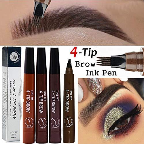 4-punts wenkbrauwstift, natuurlijk 4-punts vloeibaar wenkbrauwpotlood, wenkbrauw-tatoeage-pen, wenkbrauwpotlood, microblading-wenkbrauwpen (zwart)
