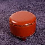 XING Tabouret de siège de Maison en Cuir Petit Rond Orange avec Base Banquette de canapé Multicolore en Option (Couleur: Laiton)