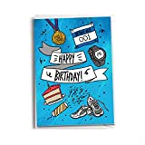Happy Birthday Runner Greeting Card Blue | Miles, Pace, Race and Running Inspired