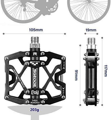 SGODDE Fahrrad Pedalen Mountainbike Rennrad Fahrradpedale, MTB Pedale mit Ultralight Aluminiumlegierung Platform und 3 Abgedichtete Läger, rutschfest Trekking Pedale mit Achsendurchmesser 9/16 Zoll