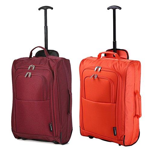 """Set di 2 21""""/ 55cm 5 Cities cabina Approvato mano bagaglio leggero sacchetti del carrello per Ryanair/Easyjet (Vino + Arancia)"""