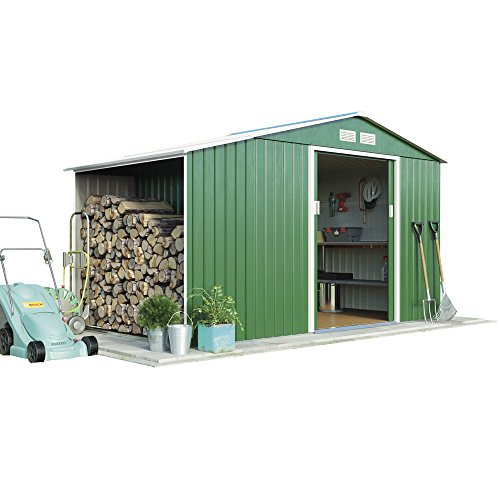 Metal Large Garden Shed Log Store 9.1 x 6.3 with Apex Roof & Double Sliding Doors, by Waltons (Standard with Foundation Kit, Dark Green)
