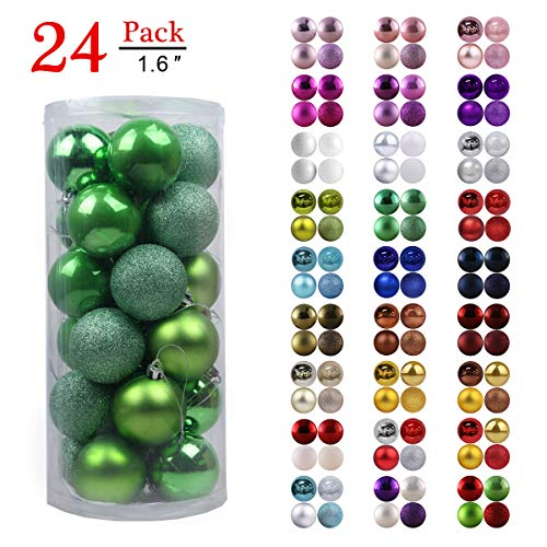Christmas Balls Ornaments for Xmas Tree - Shatterproof Christmas Tree Decorations Perfect Hanging Ball Green 1.6