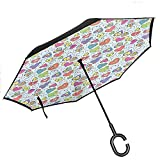 ETGeed Valentines Inverted Umbrella Verschiedene Arten von handgezeichneten bunten Herzen mit Flügeln Pfeile und Blumen Liebe