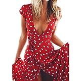 LuckyGirls  Mujer Sexy Vestido de Fiesta Manga Corta Cuello en V Bodycon Casual Maxi Vestido de Noche Lunares Irregular Playa Largos Falda (S, Rojo)