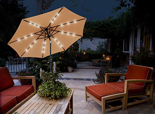 GlamHaus Garden Parasol Tilting Table Umbrella with Crank Handle, Protection UV 40+ Solar LED Lights 2.7m, Additional Parasol Protection Cover, Gardens and Patios - Robust Steel (Sand)