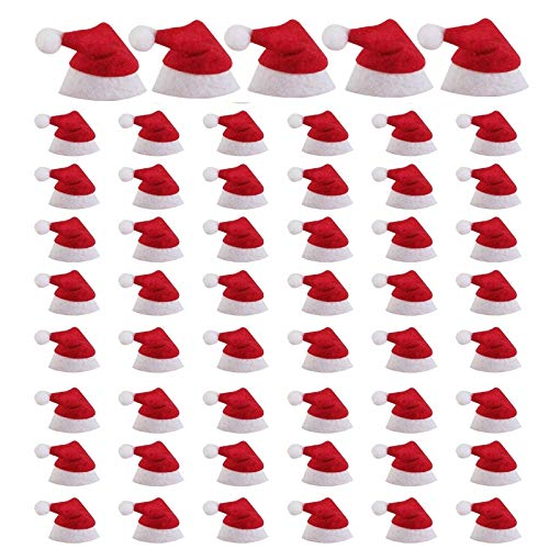 WayJaneDTP 60 Pcs Red Finger Hat Mini Christmas Hat Wine Bottle Hat Christmas Santa Claus Lollipop Candy Cap for Home Christmas Candy Covers Wine Bottle Decorations