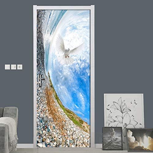 Cielo Azul Nubes Blancas Creativo Vista Al Mar Puerta Mural Papel Tapiz PVC Impermeable Puerta Pegatina 3D Dormitorio Sala De Estar Decoración del Hogar