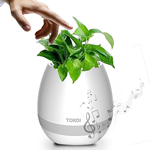 ZOYOL Music Flowerpot & Bluetooth Speaker, Play Piano on a Real Plant, Night Light Smart Touch Music Plant Lamp Rechargeable, Great Smart Festival Gift for Kids & Adults (White)