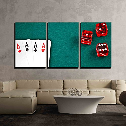 """wall26 - 3 Piece Canvas Wall Art - Poker Card and Dice in Corner in of a Green Fabric Background - Modern Home Art Stretched and Framed Ready to Hang - 16""""x24""""x3 Panels"""