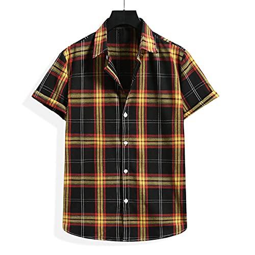SSBZYES Camisas para Hombres Camisas De Verano De Manga Corta Camisas a Cuadros Tops para Hombres Camisetas Camisas De Flores De Moda De Manga Corta para Hombres Camisas De Playa De Moda