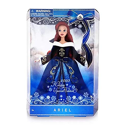 Doll Disney Store Ariel The Little Mermaid – 2020 Holiday Special Limited Edition – 11'' - Features Faux fur Velvet Gown
