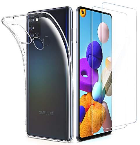 EIISSION Kompatibel mit Samsung Galaxy A21S Hülle + Schutzfolie, [1 Handyhülle 2 Panzerglas] Folie Glas 9H Panzerglasfolie + Schutzhülle Transparent Silikon Soft TPU Case Cover für Galaxy A21S