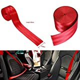 AutoTrends RED Car 3.6M Seat Belt Webbing Polyester Seat Lap Retractable Nylon Safety Strap
