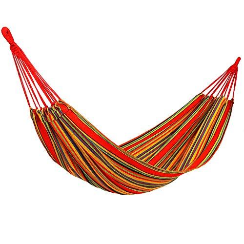YKS Hängematte mehrfarbig Hammock 100% Baumwolle Regenbogen Farbe 200 x 80 cm Camping Hängematte für Backpacker, Camping, Jagen, Strand, Hof Belastbarkeit bis 120 kg