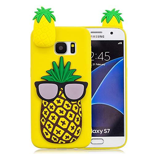 Galaxy S7 Hülle,Galaxy S7 Handyhülle,WIWJ Hülle TPU Silikon Backcover Case Handy Schutzhülle mit Muster der Karikatur 3D Schutzhülle für Samsung Galaxy S7 -Große Ananas
