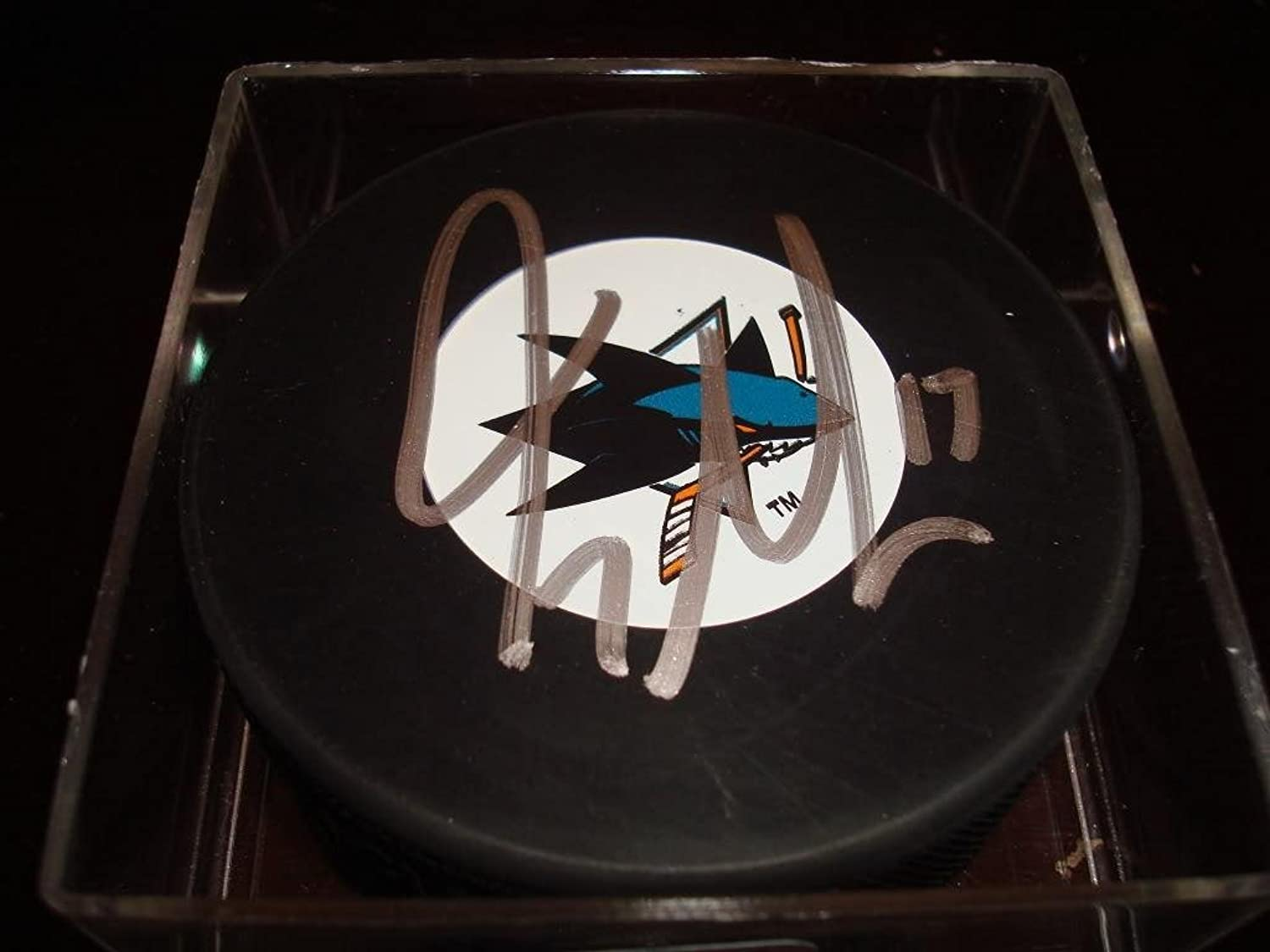 Autographed Torrey Mitchell Hockey Puck  Autographed NHL Pucks