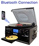 Boytone BT-22B, Bluetooth Record Player Turntable, AM/FM Radio, Cassette, CD...