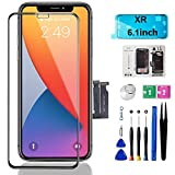 Mobkitfp for iPhone XR Screen Replacement, 6.1 inch LCD Display Screen with Face ID Frame Assembly for A1984, A2105, A2106, A2108 with Rapair Tools+Adhesive Strips+Screen Protector