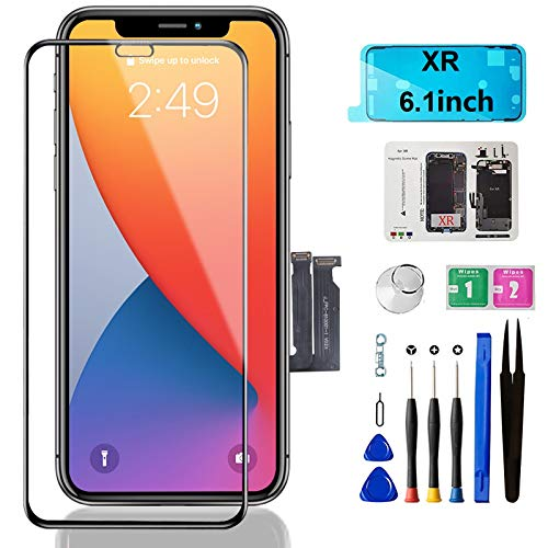 Mobkitfp for iPhone XR Screen Replacement,6.1 inch LCD Display Screen with Face ID & 3D Touch Frame Assembly for A1984, A2105, A2106, A2108 with Rapair Tools+Adhesive Strips+Screen Protector