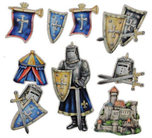 alles-meine.de GmbH 11 TLG. Set 3-D ! Wandtattoo / XL Sticker aus Pappe - Ritter Ritterburg Schild selbstklebend Aufkleber - Wandsticker für Kinder Jungen