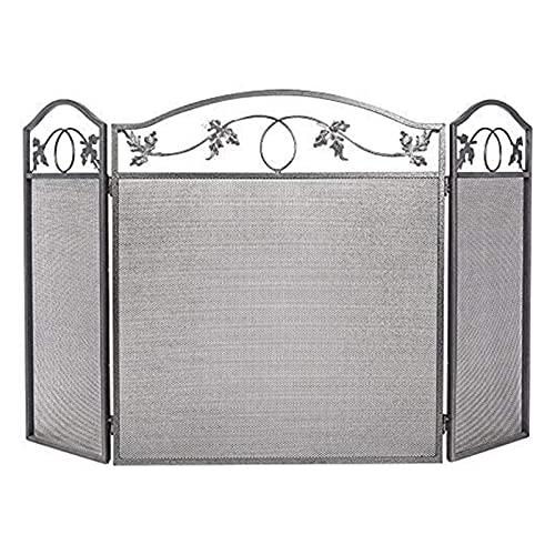 WXL Pantalla de Chimenea de 3 Paneles Cubierta de protección de Chispa Negra (Color : Black, Size : 25.6 * 12 * 28.9 Inches)