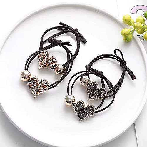 YMoon new full-drilled hair tie, four love hair ropes, Korean fashion hair band, suitable for all occasions