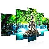 Runa Art - Bilder Buddha Wasserfall 200 x 100 cm 5 Teilig