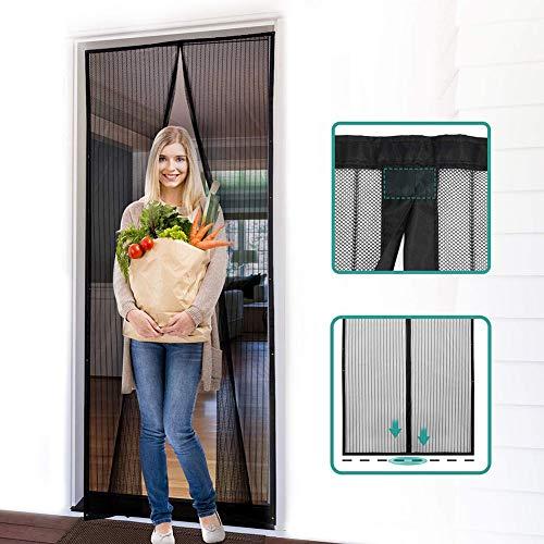 Magnetische hordeur voor Franse deur, schuifpui, dubbele deur - beslaat het hele deurkozijn - naar één kant verschoven om perfect bij uw deuropening te passen - zwart