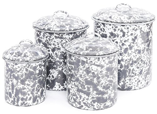Enamelware 4 Piece Canister Set - Grey Marble