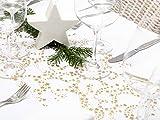 Tischläufer Sterne Gold Metallic, Organza, 28 cm x 5 m | Tischband | Tischdeko Weihnachten + Adventszeit | Deko Weihnachtsfeier - 8