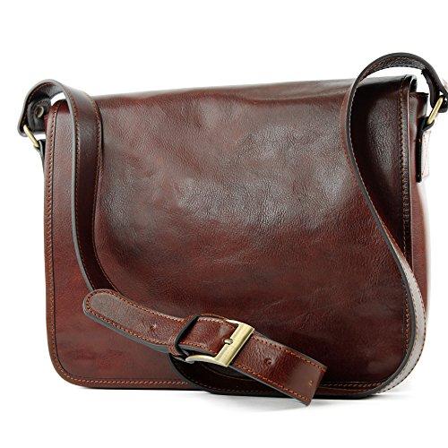 modamoda de - A001 -ital Schultertasche 3 Modelle/Größen Leder, Farbe:A001 Medium Braun
