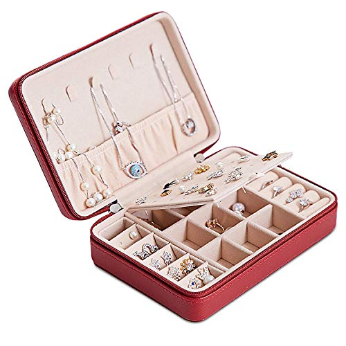 Joyero Pequeña, Caja Joyero para Mujer, Caja de Joyas de Cuero, Joyero portátil de Viaje para Mujer, Jewelry Organizer para anillos, pendientes, collares, pulseras (vino tinto)