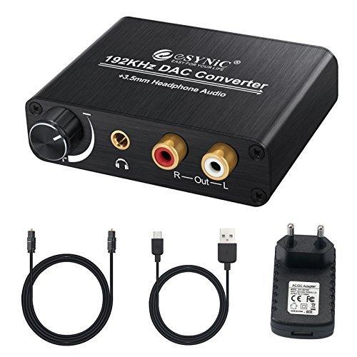 eSynic DAC de Audio Convertidor de Digital a Analgico con Cable Coaxial/ptica a RCA Toslink y SPDIF L/R Transformador de HDMI Audio para PS3 4 Xbox Android Box AppleTV BLU-Ray Home Cine