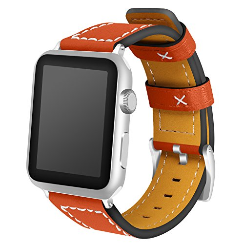 Band voor Apple Watch, AISPORTS iWatch Band 38mm Lederen Smart Horloge Band Vervanging Band met RVS Armband Gesp Polsband voor 38mm Apple Horloge Series 3/2/1 Sport Edition 42mm ORANJE