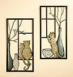 Wandbilder 'Vase/Katze', Metall, 2-teiliges Set, 40 x 80 cm